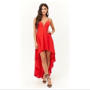 Red Crisscross High Low Dress